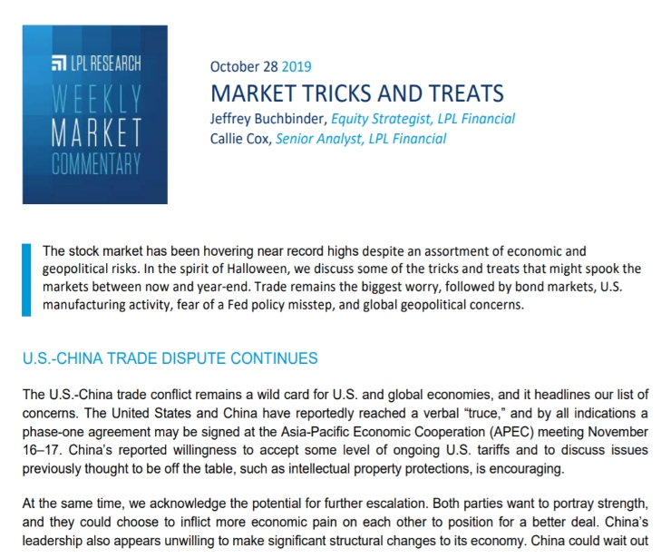 Market Tricks and Treats   Weekly Market Commentary   October 28, 2019