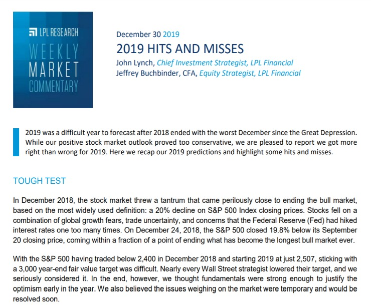 2019 Hits and Misses   Weekly Market Commentary   December 30, 2019