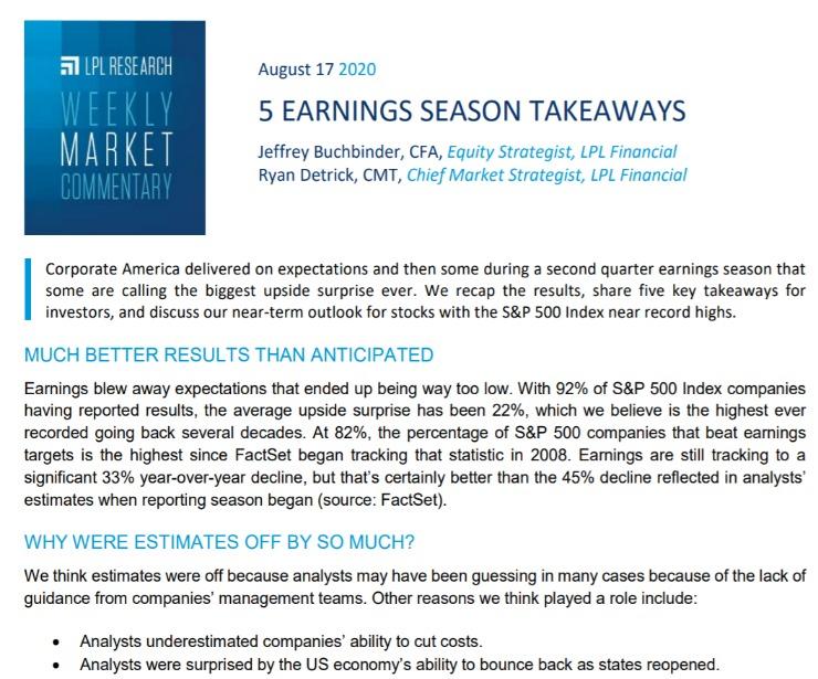 5 Earnings Season Takeaways  Weekly Market Commentary   August 17, 2020
