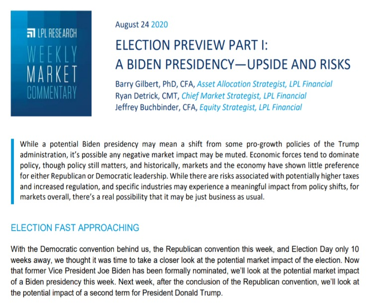 A Biden Presidency: Upside and Risks   Weekly Market Commentary   August 24, 2020