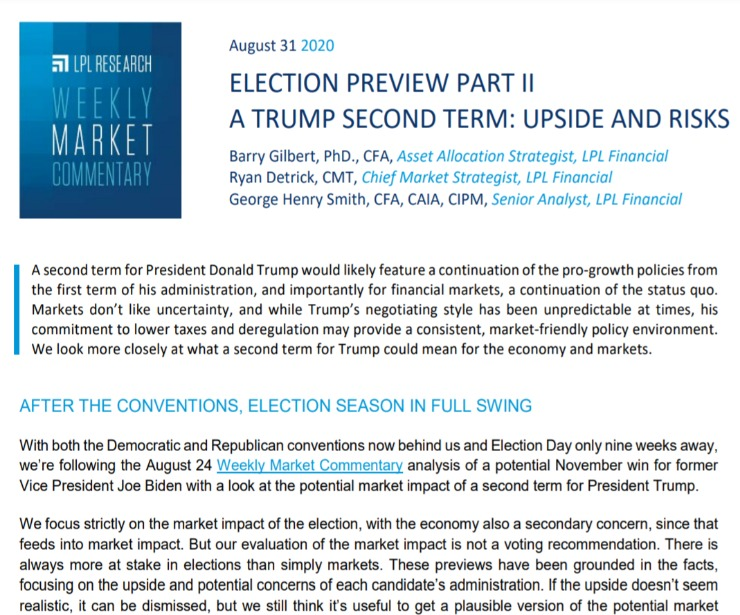 A Trump Second Term: Upside and Risks   Weekly Market Commentary   August 31, 2020