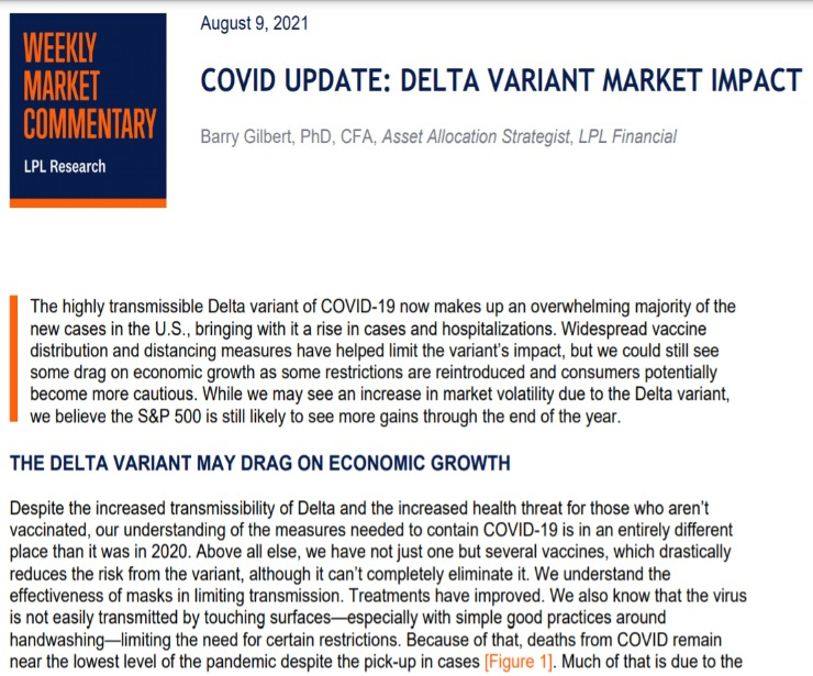 COVID Update: Delta Variant Market Impact   Weekly Market Commentary   August 9, 2021