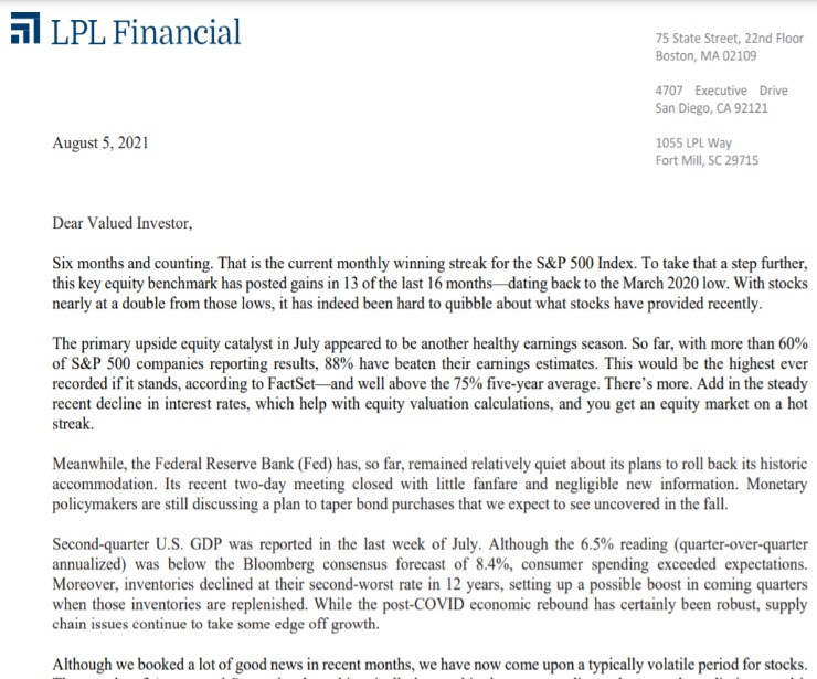 Client Letter   Six Months and Counting   August 5, 2021