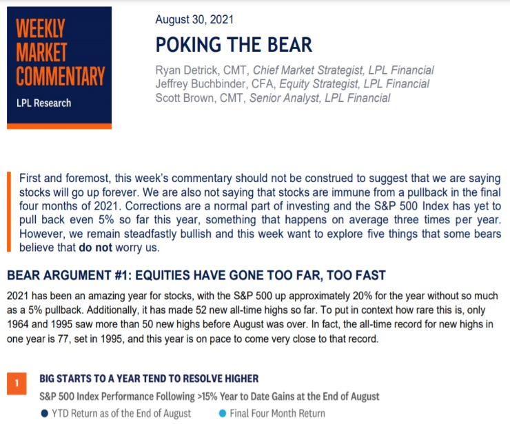 Poking The Bear   Weekly Market Commentary   August 30, 2021